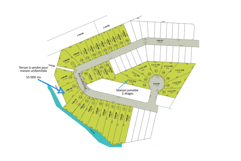 Terrain à vendre à Magog sur la rue Laurentide. Un projet domiciliaire pour la construction de magnifiques jumelés.